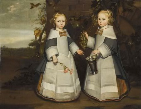 Anonymous, portrait of two girls 4-year-old twins 1654