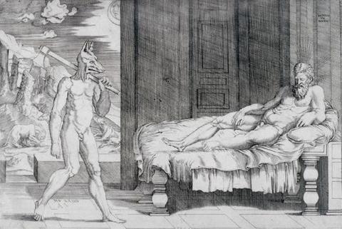 Agostino Veneziano, d'après Raphaël, Lycaon et Jupiter 1524