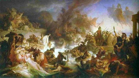 The Battle of Salamis,  Wilhelm von Kaulbach (1868)