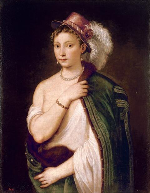 ティツィアーノ・ヴェチェッリオ 羽飾りのある帽子を被った若い女