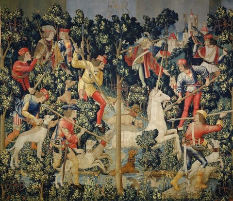 Unicorn  Attacked Unicorn Tapestries 1495-1505 南ネーデルラント