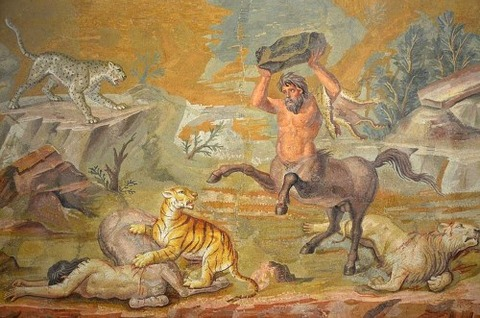Mosaic Centaurs Fighting Cats of Prey from Hadrian's Villa  130