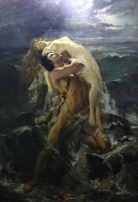 Paul Merwart 1855-1902 The Flood Deucalion holding aloft wife