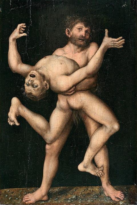 Hercules And Antaeus  Lucas Cranach the Elder