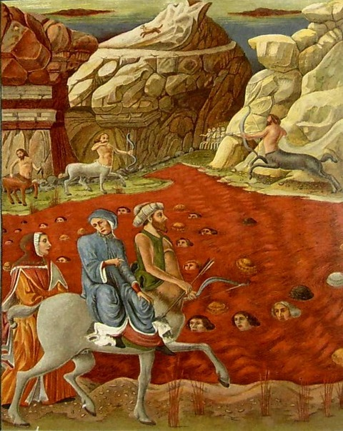 The Divine Comedy shows a centaur patrolling the river of fire