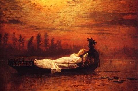 The Lady of Shalott elaine John Atkinson Grimshaw19th