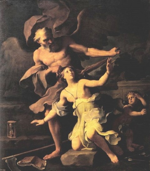 Giovanni Domenico Cerrini (1609 - 1681) Time attacking Beauty
