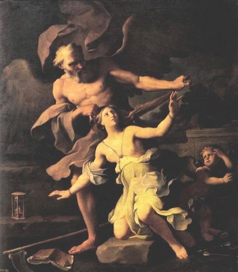 Giovanni Domenico Cerrini (1609 - 1681) Time attacking Beauty