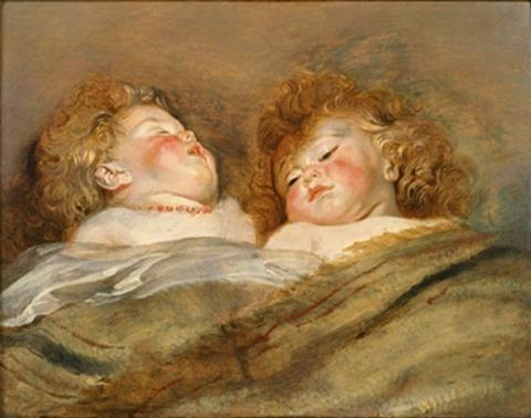 眠る二人の子供
