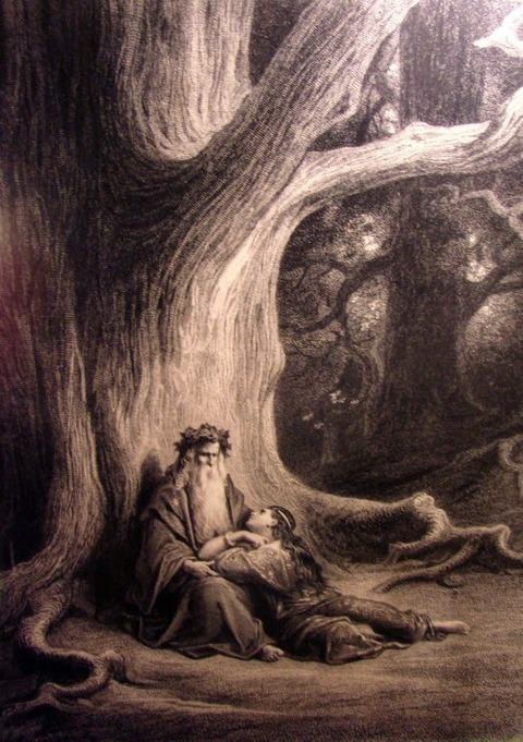 Vivien and Merlin  19th Gustave Doré