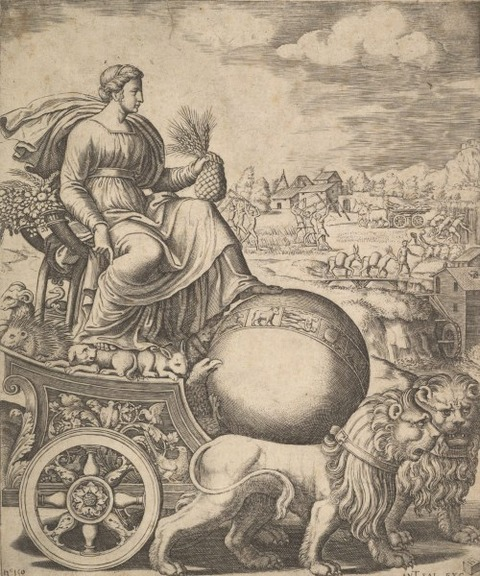 Cybele in chariot drawn lions Master of the Die 1530–60