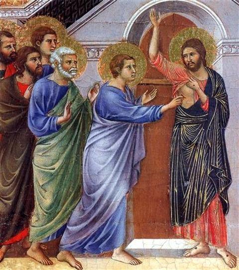 Duccio, Reassuring Thomas, 1308-1311, Museo dell Opera del Duomo
