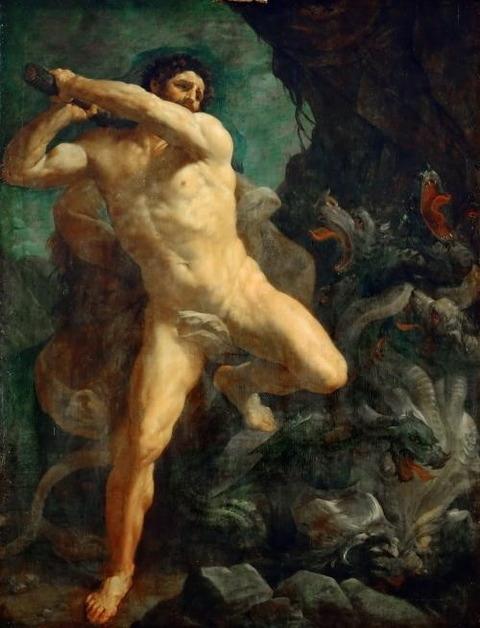 Hercules Killing Hydra of Lerna Artist Guido Reni
