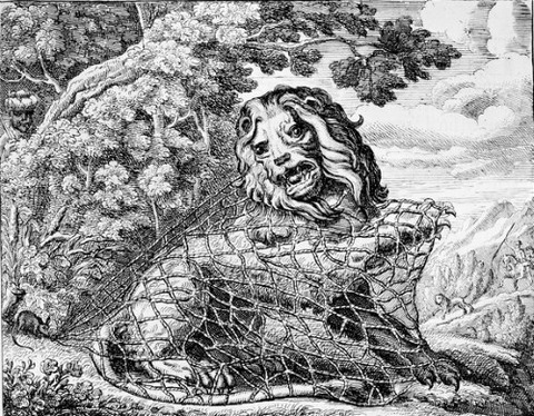 The Lion and the Mouse Aesop's Fables Barlow, Francis  1687