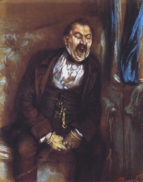Man Yawning in a Train Compartment Adolph von Menzel - 1859