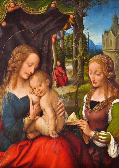 Anonymous Dutch Painter Holy Family with St. Barbara 1520