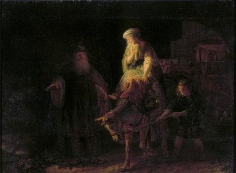 Abraham dismissing Hagar and Ishmael 1640 Rembrandt