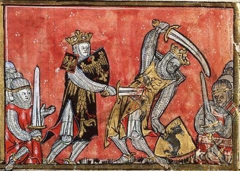 Medieval  Alexander-Porus battle West Flanders  1325-35