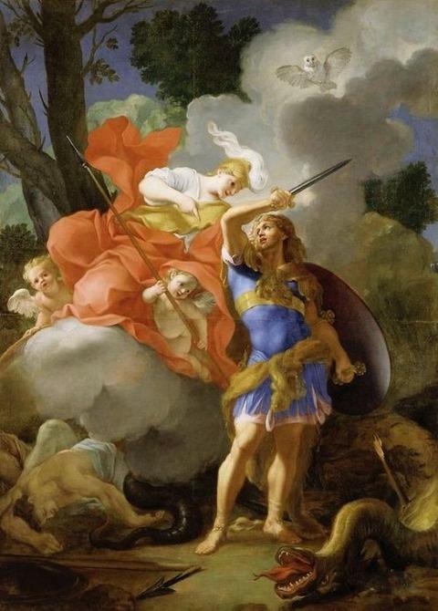 Cadmus slays the Dragon  Thomas Blanchet 1614-89
