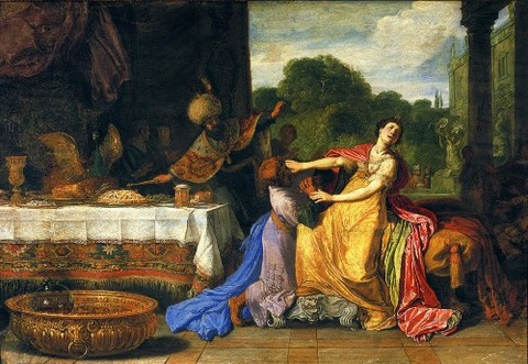 Haman Begging Esther For Mercy  Pieter Lastman