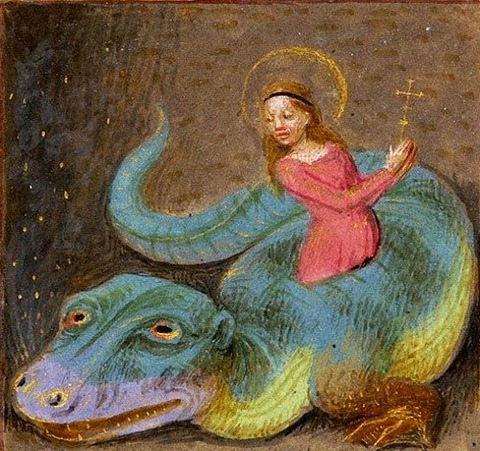 Margaret of Antioch emerging  Dragon  Book of Hours  1480