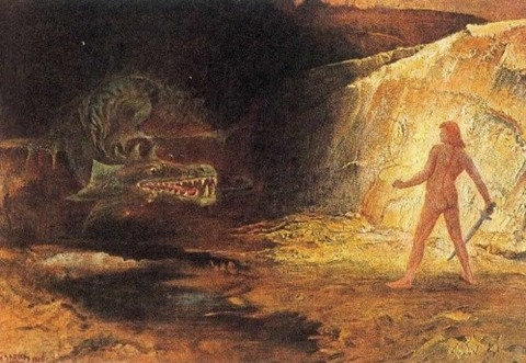 Sigurd And Fafnir by Hermann Hendrich (1854-1931