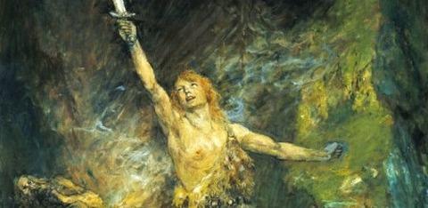 Ferdinand Leeke    Siegfried forges the sword -