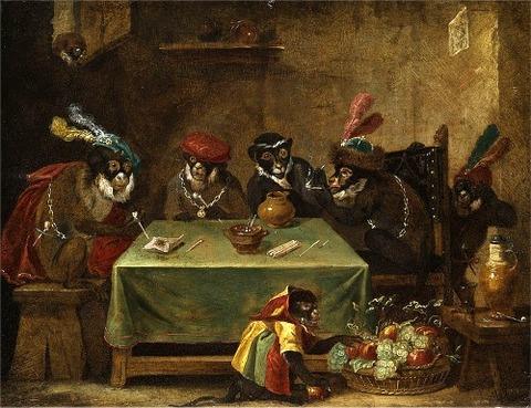 The Tobacco Smoking  attributed to Ferdinand van Kessel, 17th