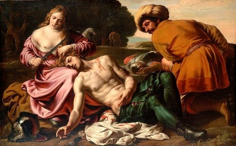 Erminia tends to Tancredi's wounds by Alessandro Turchi, c. 1630
