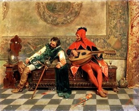 Drunk Warrior and Court Jester, Italian Painting of 19th
