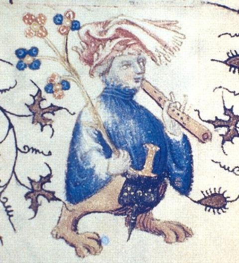 Grotesque flutist, French illuminated 1408