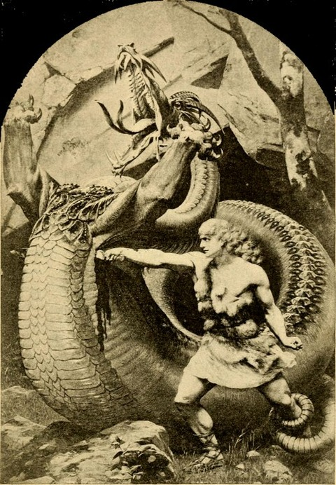 Sigurd slaying Fafnir  Old Norse stories 1900