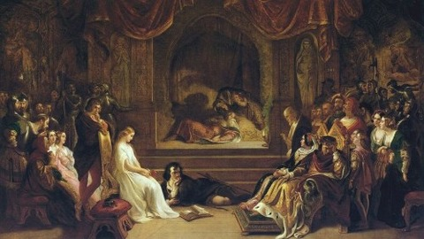 Daniel Maclise  The Play Scene in  Hamlet'' exhibited 1842