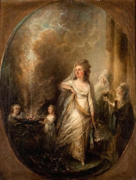 Ulla von Höpken sacrifice to Asclepius  Elias Martin 1739-818