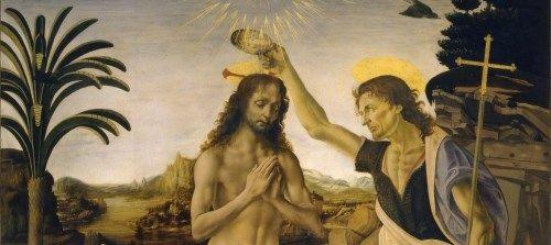 キリストの洗礼の絵画15点。救世...