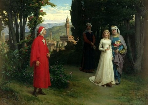The Forst Meeting of Dante And Beatrice by Raffaelle Giannetti