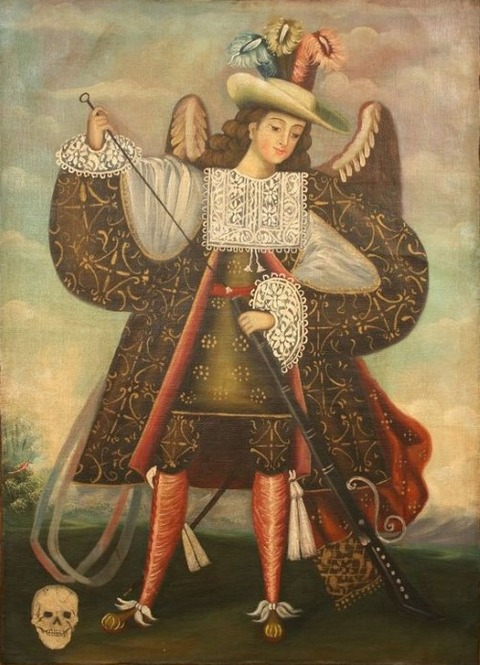archangel holding musket with death skull