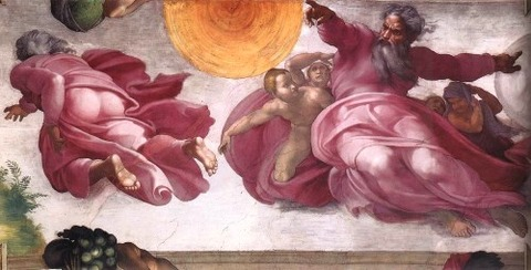 The Creation of the Sun Moon Vegetation Michelangelo 1511