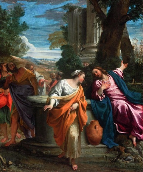 Christ Samaritan Woman Painting by Annibale Carracci 1595-97