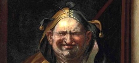 A jester with a cat, by Studio of Jacob Jordaens -