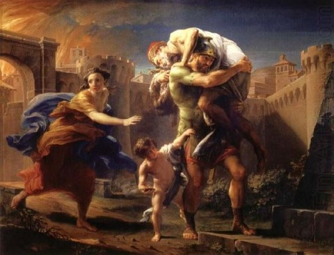 Batoni, Pompeo — Aeneas fleeing from Troy — 1750