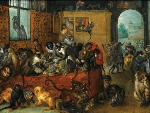 Monkeys Feasting by Breughel the Younger