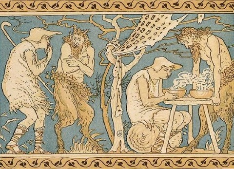 The Satyr and the Traveller, illustrated by Walter Crane, 1887
