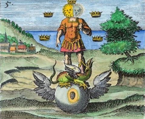 alquímica del Andrógino triunfante sobre el dragón