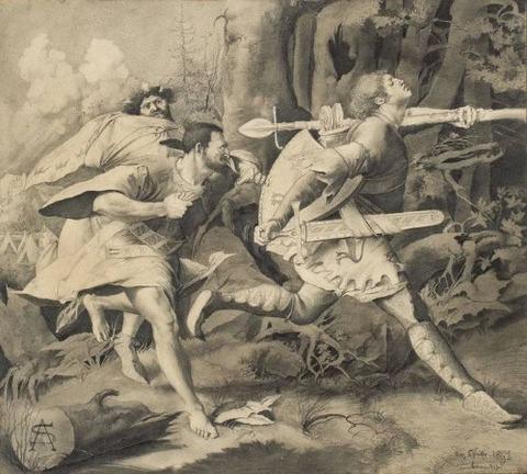 Sascha Schneider Siegfried und Hagen 1891