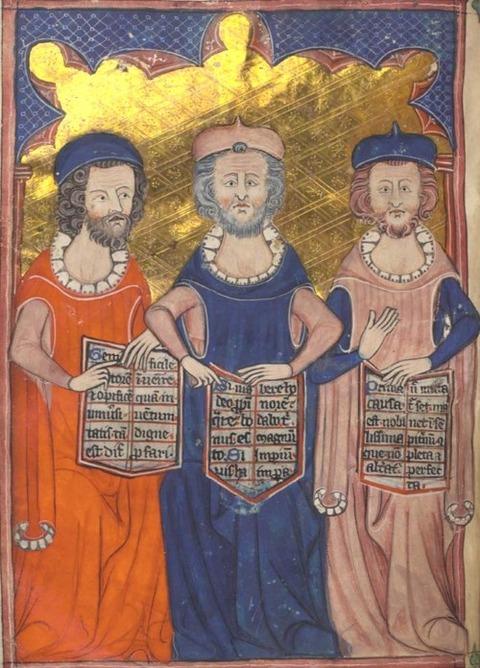 Plato, Seneca, Aristotle in medieval manuscript  1325–35