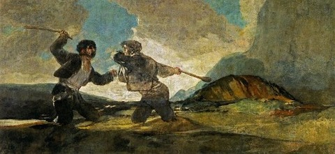 Duel With Cudgels by Francisco Goya 1820-23