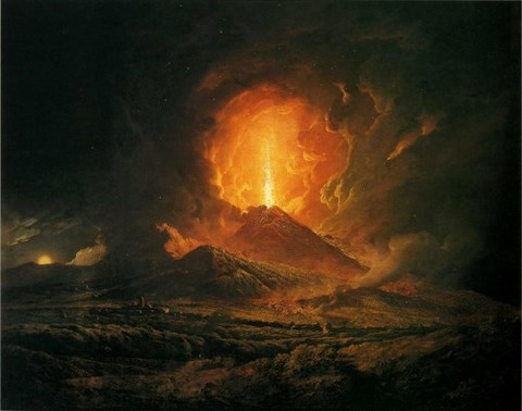 Joseph Wright of Derby - Eruzione del 1771 da Portici 1774-6
