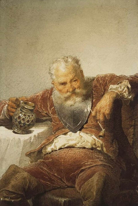 Falstaff with a Tankard of Wine and a Pipe, 1873 by Mihály Zichy