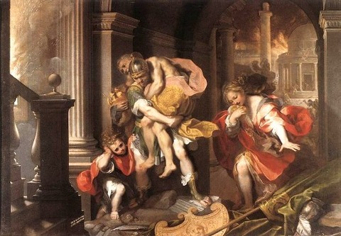 Aeneas Flees Burning Troy Federico Barocci 1598